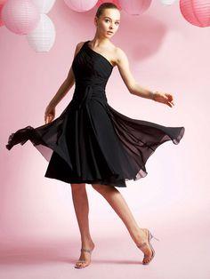 Modest A-line One Shoulder Knee-length Chiffon Black Homecoming Dresses - $117.99 - Trendget.com