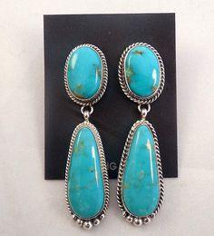 Navajo Handmade Turquoise Earrings Set In Sterling Silver