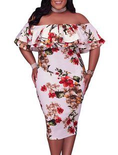 GloriaandSarah Womens Off Shoulder Ruffle Floral Print Plus Size Bodycon  Party DressPrintXL     Discover 0b2f290eca