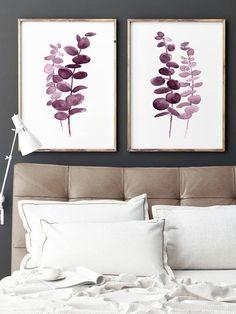 Eucalyptus Purple Pink set 2 Silver Dollar Watercolor