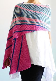 Knitting Pattern for By Airmail Wrap - This easy rectangular shawl is knit on on the bias in easy garter stitch. Knitting Stitches, Knitting Patterns Free, Knitting Yarn, Crochet Shirt, Knit Crochet, Crochet Vests, Crochet Cape, Crochet Edgings, Crochet Motif