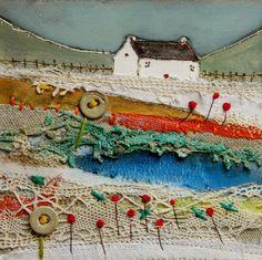 Original Mixed Media Art Cottage aux amandes par LouiseOHaraArt