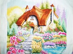 New Completed Finished Cross Stitch The Romantic Cabin In Flower Garden Design