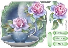 This lovely, shaped topper, features a fabulous teacup and saucer and is embellished with beautiful frosted roses. It has decoupage, three greetings and a blank greetings tile. Decoupage Printables, Tea Cup Saucer, Teacup, Frost, Card Making, Xmas, Shapes, Floral, Tile