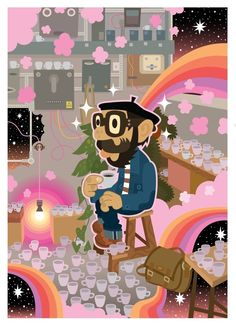 Pete's inspiration for his work comes from nature, daily life, psychedelica, monsters, music and much more. Forming a backdrop to his ever growing . Independent Business, Coffee Culture, Backdrops, Minnie Mouse, Family Guy, Cartoon, Cool Stuff, Disney Characters, Illustrations