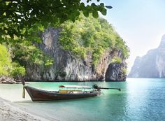 Great Art Wall Mural – Fishing Boat in a Tropical Bay – Mural Decoration Vacation Trips Seaside Paradise Bay Nature Island Sea Travel Beach Wallposter Photoposter x Inch / 336 x 238 cm) Paradise Bay, Paradise Island, Boat Wallpaper, Photo Wallpaper, Art Mural, Wall Murals, Beach Trip, Vacation Trips, Krabi