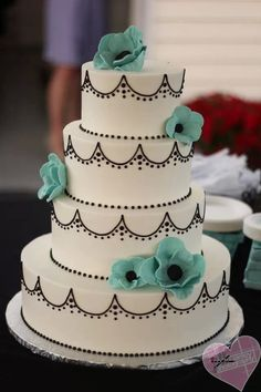 Tiffany Blue accented wedding cake - Cake by Happy Cake Co - Photo by Jill Ainley