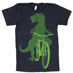 Dinosaur On A Bike Men's Tee Blk by Dark Cycle Clothing
