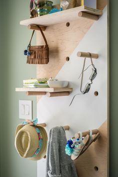 Chic Pegboard Storage in Blog Cabin's Mudroom