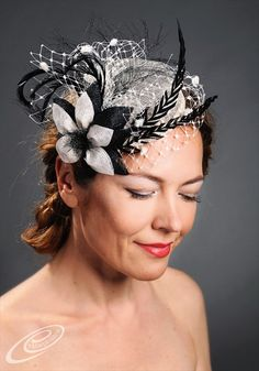 White wedding pillbox hat fascinator with feathers by MargeIilane, $120.00
