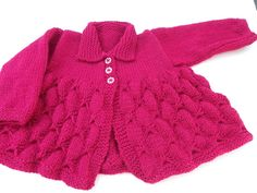 Hand knitted poppy red baby cardigan butterfly stitch 0 - 3 months on eBid United Kingdom Knitting For Kids, Baby Knitting Patterns, Baby Patterns, Hand Knitting, Knitted Baby Cardigan, Knitted Baby Clothes, Knitted Poppies, Butterfly Stitches, Beautiful Gifts