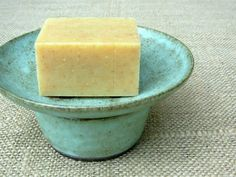 green patina stoneware soap dish- holes drain water to bottom cup $30, available in many glazes