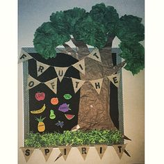 Bulletin Board I made today for our fruit of the spirit theme! Truffla tree tutorials help with the leaves. Got everything from Hobby Lobby