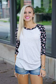 I love this pop of print on the classic baseball tee. It's priced right at $25 as well!