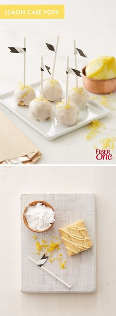 When life gives you Fiber One lemon bars, make cake pops! This quick dessert hack gives you glazed lemon cake pops in a matter of minutes-- Great for parties or fun with the kids.