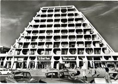 Le Grand Pavois, an habitation building built in 1967-1968 and designed by Jean Balladur. This building is a part of the Grande Motte building ensemble, most of them having a pyramidal shape. South of France.