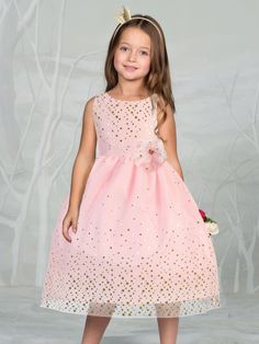 d9048b09768 Gorgeous Mesh Flower Girl Dress with Gold Dots - EASTER GIRL DRESSES