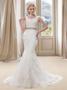Dentelle robe de mariée sirène avec ceinture perles pas cher