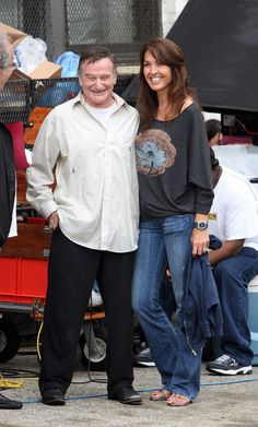 Robin Williams and his wife Susan Schneider on October 4th pose for pictures on the set of 'The Angriest Man in Brooklyn' in Brooklyn, New York City.