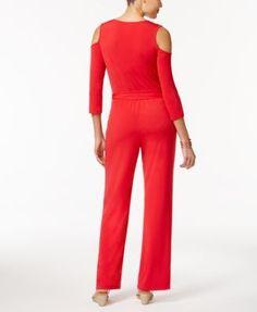 Ny Collection Petite Surplice Cold-Shoulder Jumpsuit - Black P/XL