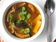 Hot and Sour soup-great flavor, quick and easy to make. Thinner, cleaner broth than take-out hot and sour soup and much less salty.  I didn't have access to Chinkiang vinegar so I substituted 2 tablespoons red vinegar and 1 tablespoon plum vinegar.