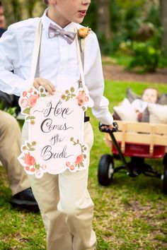 Cali & Robert's Haig Point Lighthouse Wedding on Daufuskie Island, SC by {Once Like A Spark} Photography - Here Comes The Bride Sign