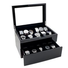 Piano Glossy Black Wood Watch Case Display Storage Box with Glass Top Holds 20+ Watches, Adjustable Soft Pillows and High Clearance for Large Watches, http://www.amazon.com/dp/B007CMFR66/ref=cm_sw_r_pi_awd_F37gsb0HW1A39