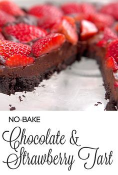 No Bake Chocolate & Strawberry Tart | Here's an easy dessert to serve your sweetheart this Valentine's Day! It's the classic combination of strawberries and chocolate but in a simple tart that's easy-to-make and no-bake, so you can whip it up quickly to share with your sweetie. Click for the recipe and video how-to. #valentinesday #holidayrecipes #desserts #chocolate #sweettreats