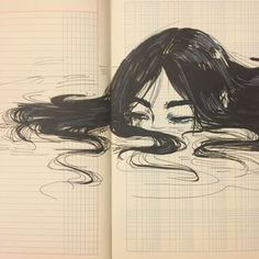 Indie Kunst, Arte Indie, Indie Art, Painting Inspiration, Art Inspo, Pencil Drawing Inspiration, Illustration Tattoo, Landscape Illustration, Girl In Water