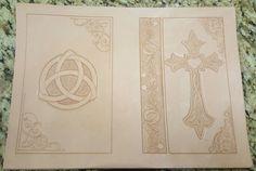 Handmade leather bible cover work in progress. #celticcross #leatherwork #leatherbiblecover #cross #leathertooling #leatherworkbyhand #triquetra