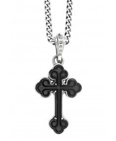 King Baby - 'Carved Black Agate Cross' Pendant
