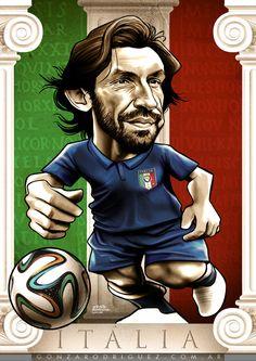 Brasil 2014 Caricatures posters by Gonza Rodriguez, via Behance Andrea Pirlo, Soccer Art, Football Art, Lionel Messi, Cristiano Ronaldo, Fc Bayern Logo, Roberto Baggio, Realistic Cartoons, Italy Logo