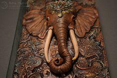 Indian Elephant Polymer Clay Journal A6 by Aniko Kolesnikova