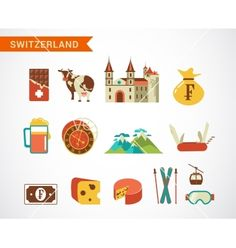 Switzerland - icons set vector - by ma_rish on VectorStock®