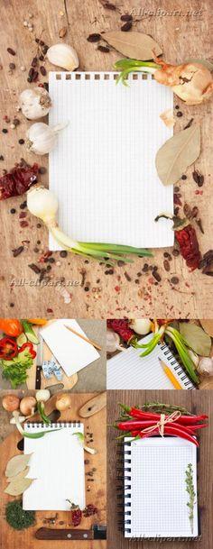 Лист бумаги и специи - растровый клипарт