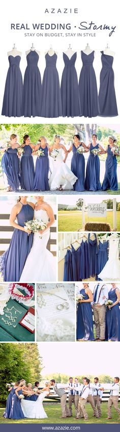 Looking for the perfect color for your bridesmaids this Fall? Stormy is the way to steal the show on your wedding day! Let your bridesmaids' personalities shine and mix-n-match your bridesmaid dresses. Choose from 150+ different styles, all for $150 or below!| Photos courtesy of oncelikeaspark.com