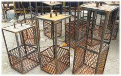 Fanales realizados en hierro y chapa . terminación óxido . Welded Metal Projects, Welding Projects, Bar Lighting, Lighting Design, Vintage Industrial, Industrial Style, Iron Furniture, Iron Steel, Metal Art