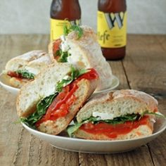 Roasted Pepper and Arugula Sandwiches recipe