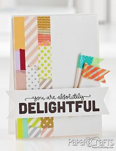 Washi tape border and flags, from 75 Creative Card Challenges - Alice Wertz - Paper Crafts magazine
