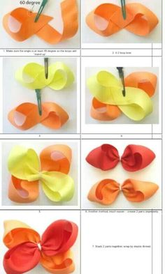 How to make ribbon bow? 8 tips to make a 5 inch hair bow. Handmade Hair Bows, Diy Hair Bows, Making Hair Bows, Ribbon Hair Bows, Diy Bow, Diy Ribbon, Ribbon Crafts, Boutique Bow Tutorial, Jojo Bows