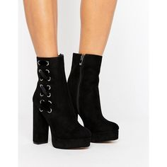 Public Desire Black Lace Side Platform Boots (€54) ❤ liked on Polyvore featuring shoes, boots, black, high heel boots, black high heel shoes, zipper boots, black block heel boots and lace up platform boots