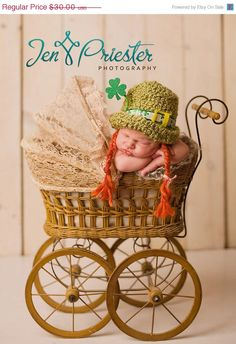 Spring Sale 20 Off Newborn Saint Patricks Day hat by garysangel, $24.00