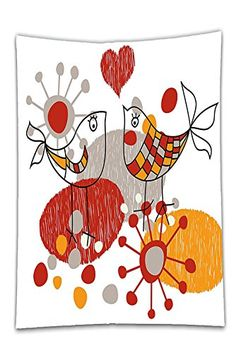 Interestlee Satin drill Tablecloth?Valentines Cute Little Love Birds with Hearts Romantic Spring Fun Happy Sketch Design Grey Orange Red Dining Room Kitchen Rectangular Table Cover Home Decor