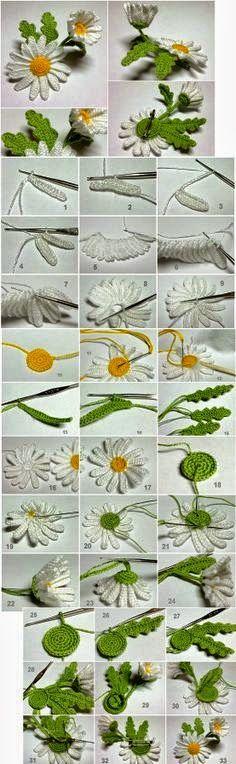 Flor tejida con ganchillo con paso a paso en fotos