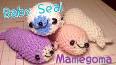 Rainbow Loom Baby Seal Mamegoma Loomigurumi Charm Tutorial レインボールーム アザラシ...
