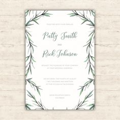 Elegant wedding invitation with watercolor botanical illustrations Free Vector