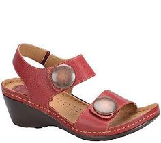 Softspots Leather Wedge Sandals - Pamela