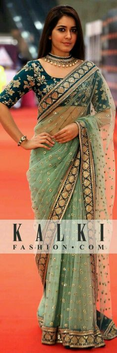A little bit of Indian never goes out of style. A perfect combination of light and dark green in a net saree is what style is all about. Indian Attire, Indian Ethnic Wear, India Fashion, Asian Fashion, Indian Dresses, Indian Outfits, Lehenga, Anarkali, Sabyasachi