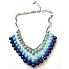 Turquoise, Jade, & Lapis Swarovski Pearl Crystal Gemcolors Beaded Statement Necklace
