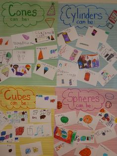 Literacy and Laughter - Celebrating Kindergarten children and the books they love: Shapes Second Grade Math, First Grade Math, Grade 1, Shape Anchor Chart, Anchor Charts, Flip Charts, Math Resources, Math Activities, 3d Shapes Activities
